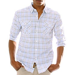 191 Unlimited Men's Blue Plaid Woven Shirt