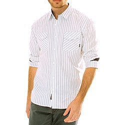 191 Unlimited Men's White Striped Woven Shirt