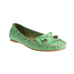Refresh by Beston Women's 'Bonita' Light Green Fringed Loafers