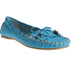 Refresh by Beston Women's 'Bonita' Blue Fringed Loafers