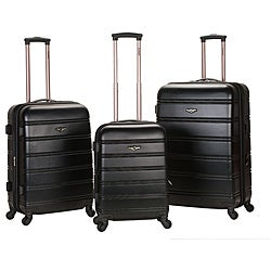 Rockland Melbourne Super Light Weight Black 3-piece Expandable Hardside Spinner Luggage Set