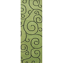 Alliyah Handmade Lime Green New Zealand Blend Wool Rug (2.5' x 8')