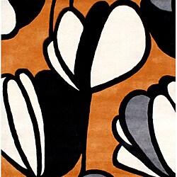 Hand-tufted Metro Soft Orange Wool Rug (6' Square)
