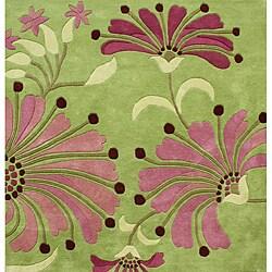 Alliyah Handmade Green New Zealand Blend Wool Rug  (6' Square)