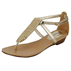 Oceanstar Women's Gold T-Strap Thong Sandals