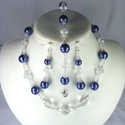 Angelic Clear Crystal and Navy Pearls Set