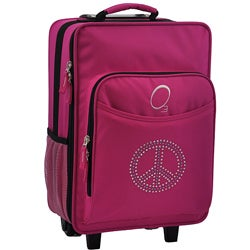"O3 Kids ""Rhinestone Peace"" 16-inch Rolling Carry On Cooler Upright"