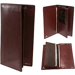 Men's Brown Leather Checkbook Wallet