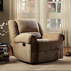 ETHAN HOME Polmont Beige Chenille Tufted Recliner Chair