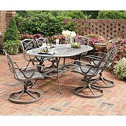 Home Styles Malibu Cast Aluminum Taupe 7-piece Outdoor Dining Set