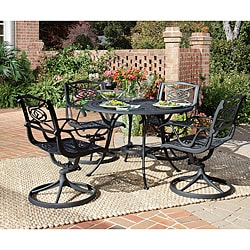 Home Styles Malibu Cast Aluminum Black 5-piece Outdoor Dining Set