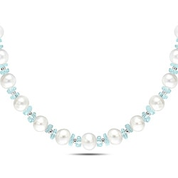 Miadora Silver 80ct TGW Aquamarine and FW Pearl 18-inch Necklace (9.5-10.5 mm)