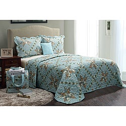 Floral Blue 5-piece Quilt Set