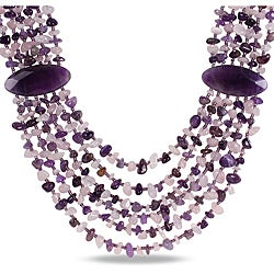 Miadora 950ct TGW Purple Agate, Amethyst and Rose Quartz 6-strand Necklace