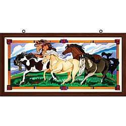 Joan Baker Hand Painted Wild Horses Art Panel