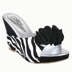 Italina by Beston Women's 'DW1166' Zebra Platform Wedges