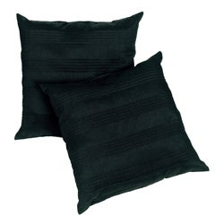 Black Satin Pleated 18-inch Pillows (Set of 2)