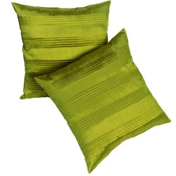 Lime Green Satin Pleated 18-inch Pillows (Set of 2)