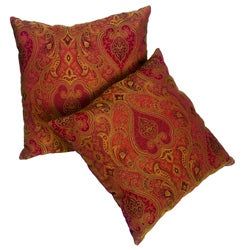 Rust/Red Jacquard Paisley 18-inch Pillows (Set of 2)