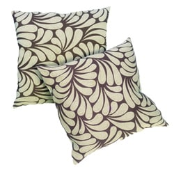 Splash Ivory Leaves with Brown Background 18-inch Pillows (Set of 2)