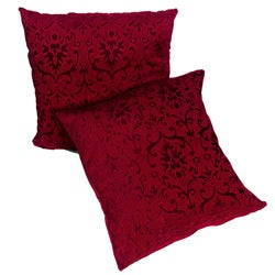 Deep Red Chenille Damask 18-inch Pillows (Set of 2)