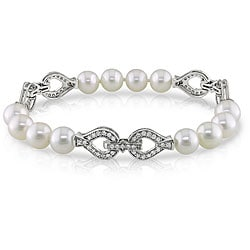 Miadora 14k Gold FW Pearl and 1ct TDW Diamond Bracelet (G-H, SI1-SI2) (7.5-8 mm)