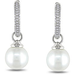Miadora 14k White Gold 1/4ct TDW Diamond and South Sea Pearl Earrings (10-10.5 mm) (G-H, SI1-SI2)