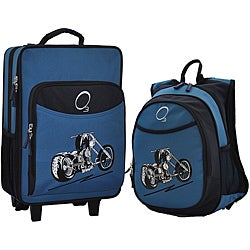 "O3 Kids ""Motorcycle"" Pre-School 2-piece Backpack and Suitcase Carry On Luggage Set"