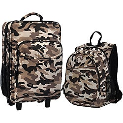 "O3 Kids ""Camo"" Pre-School 2-piece Backpack and Suitcase Carry On Luggage Set"