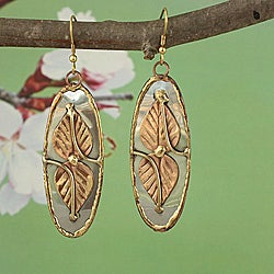 Handcrafted Three-Tone 'Dynamic Leaf' Oval Dangle Earrings (India)