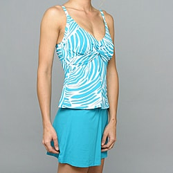 Jantzen D-Cup Skirted Two-piece Fully Lined Nylon/Spandex Teal Tankini