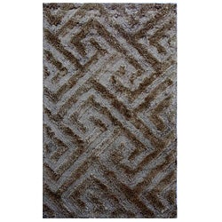 Hand-woven Grey Geometric Wool Rug (5' x 8')