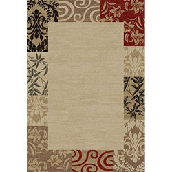 Patchwork Damask Border Beige Area Rug (6' 7 x 9' 6)
