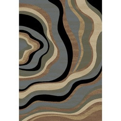 Waves Contemporary Tone and Tone Area rug (3' 11 x 5' 3)