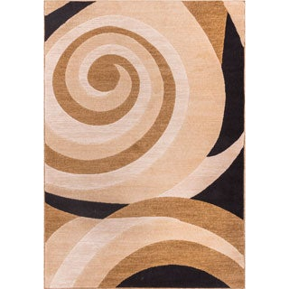 Scrolls Waves Gold Beige Ivory Black Geometric Swirl Area Rug (7'10 x 9'10)