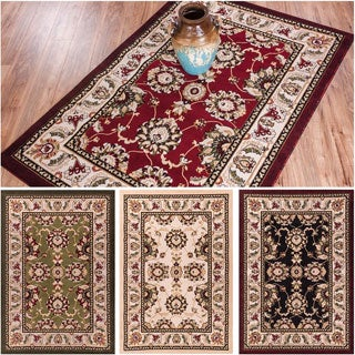 Antep Oriental Persian Floral Border Classic Traditional Transitional Black, Green, Ivory, and Red Area Rug (5' x 7'2)