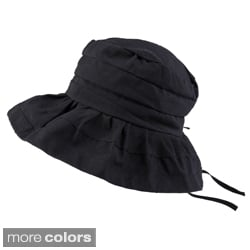 Hailey Jeans Co. Women's Pleated Crown Drawstring Ribbon Sunhat