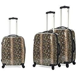 Benzi Snake Print 3-piece Multidirectional Lightweight Spinner Luggage Set