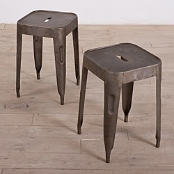 Set of 2 Natural Steel Madurai Stools (India)