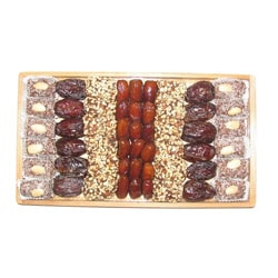 California Date Sampler Gift Wood Tray with Four Date Offerings