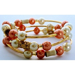 Handmade Cat's Eye Gemstone Crystazzi Pearl Wrap Bracelet