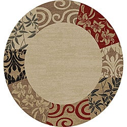 Patchwork Damask Border Beige Area Rug (5' 3 Round)