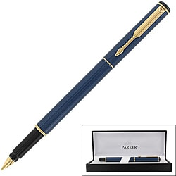 Parker 88 Blue-lacquer GT Fine-point Fountain Pen with Black Grip