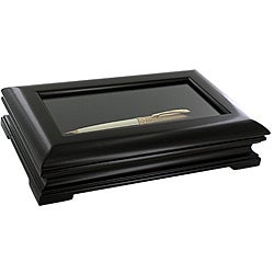 Black Woodtone Glass Top Single Pen Display Show Case