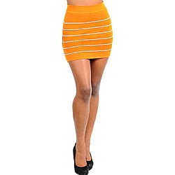 Stanzino Women's Orange Yellow Striped Bandage Mini Skirt