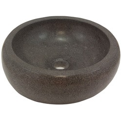 Round Concrete Grey Vessel Bathroom Sink