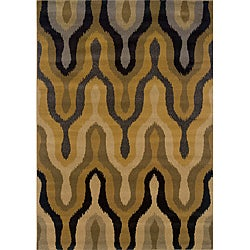 Gold/Black Patterned Polypropylene Area Rug (1'10 x 3'3)