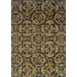 Grey/ Black Transitional Floral Area Rug (1'10 x 3'3)