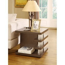 Architectural Inspired Dark Espresso End Table