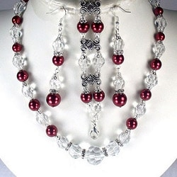 Deep Red Pearl and Clear Crystal Jewelry Set